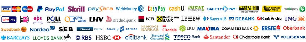 PayPal, MoneyBookers, Google Chekout, WebMoney, WebToPay.COM, Mokejimai.LT ...